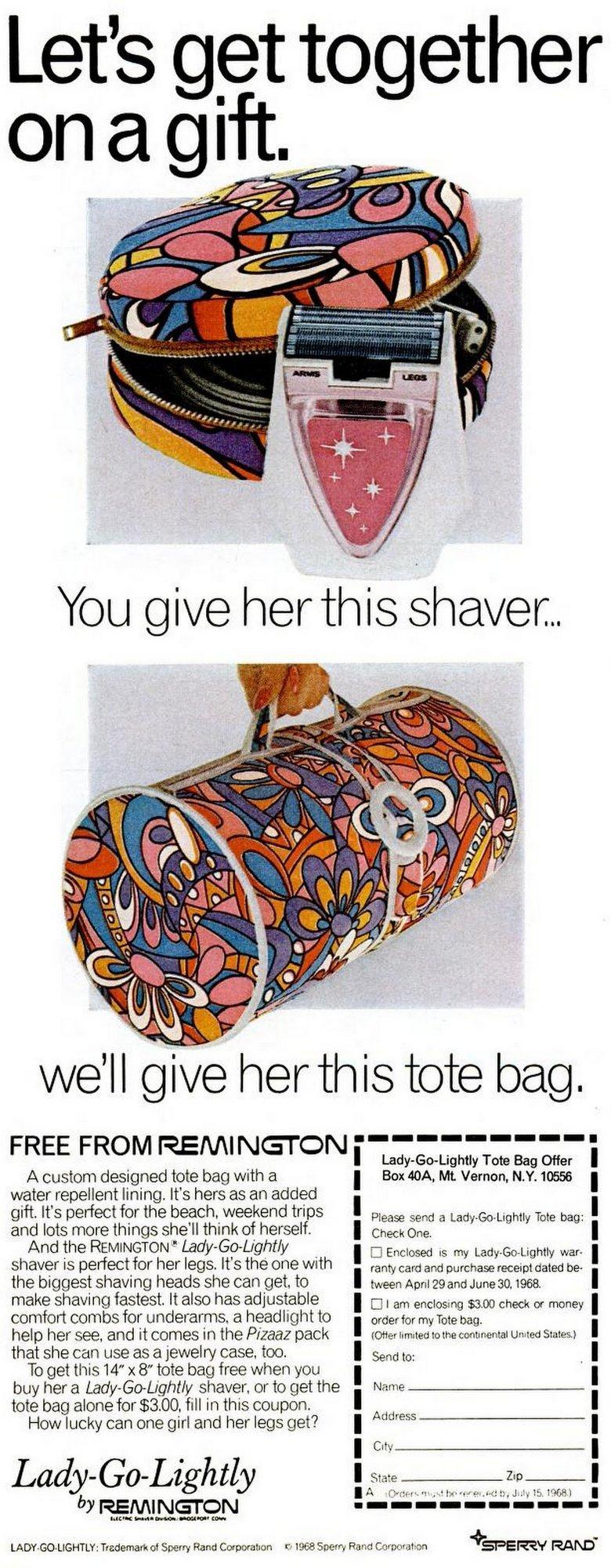 Remington Lady Go Lightly shaver - vintage tote bag offer (1968)