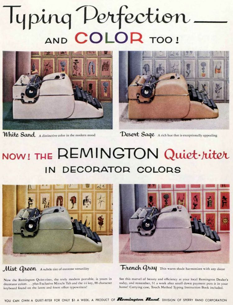 Remington Quiet-riter manual typewriter in colors from 1956