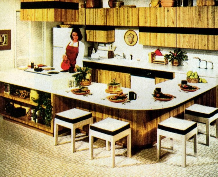 Remodeled kitchen with low bar table from 1980
