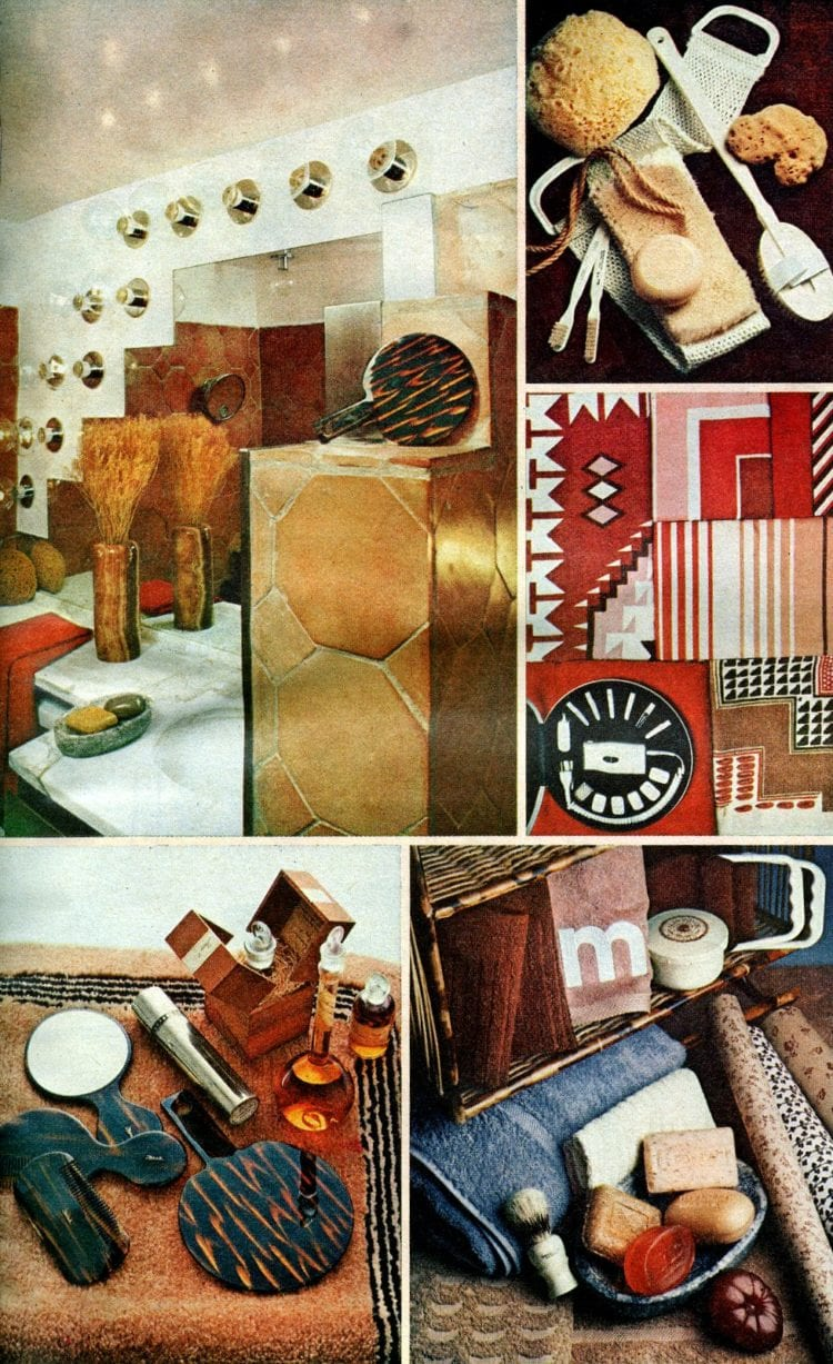 Neutral and brown retro bathroom decor from the 1970s