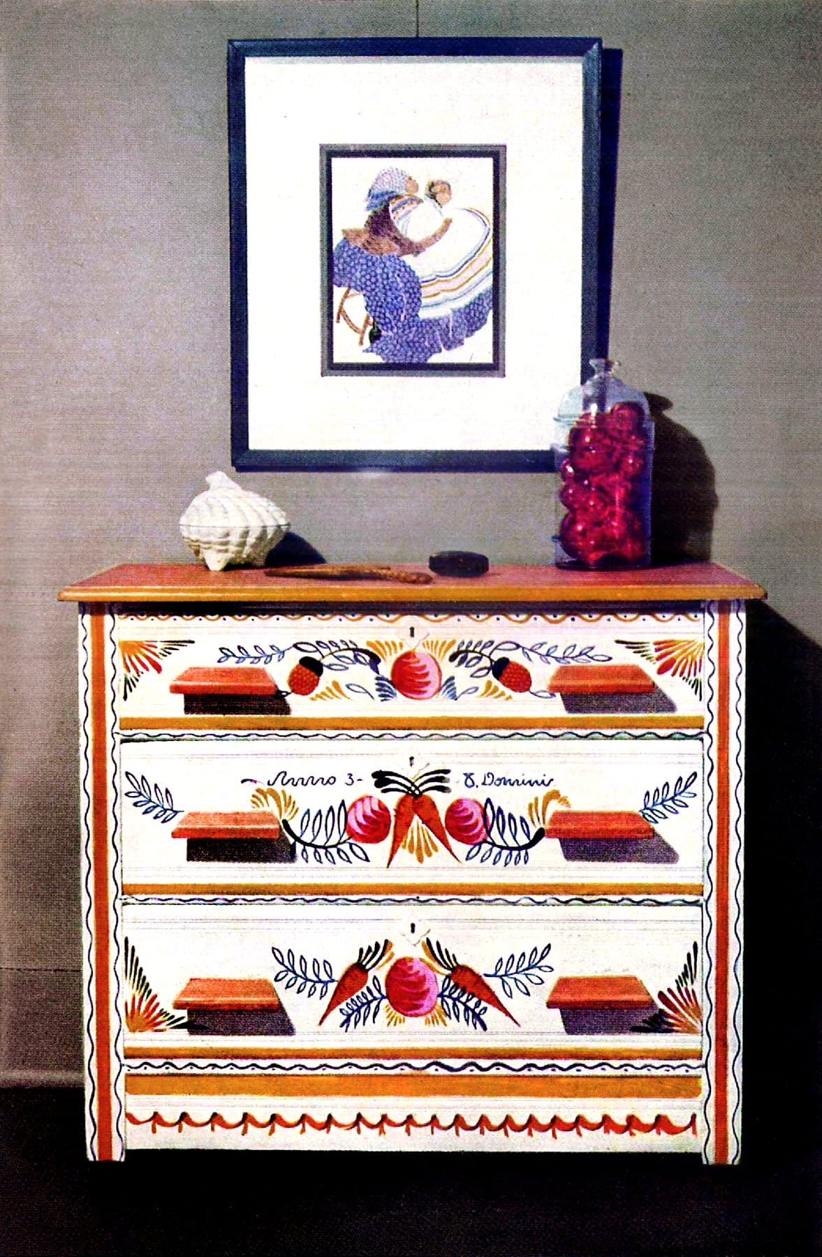 Renewed dresser with painted designs