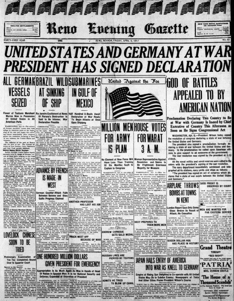 Reno Gazette Journal newspaper front page - US in World War I - April 1917