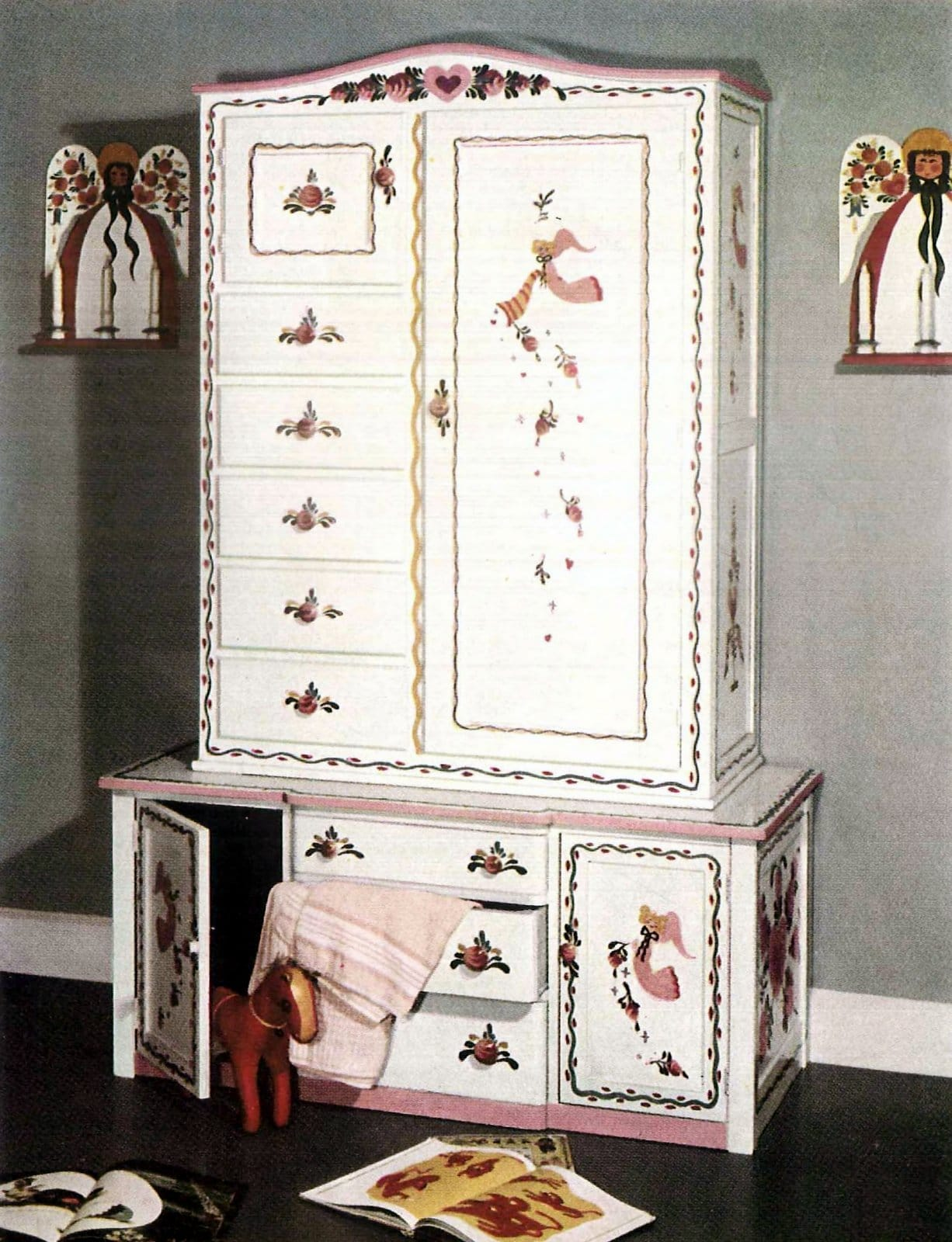 Renovated repainted antique furniture with decorative paintwork (1949)