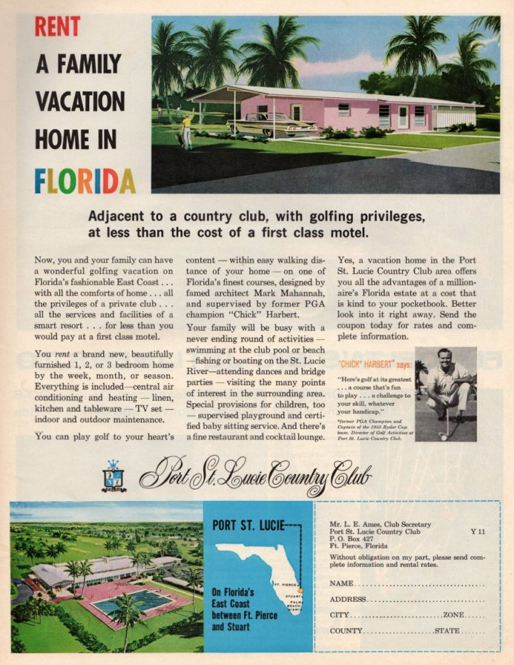 Rent a family vacation home in Florida (1961)