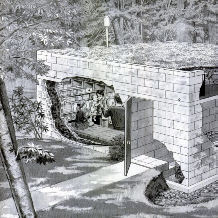 Residential cinderblock fallout shelter concept 1960s