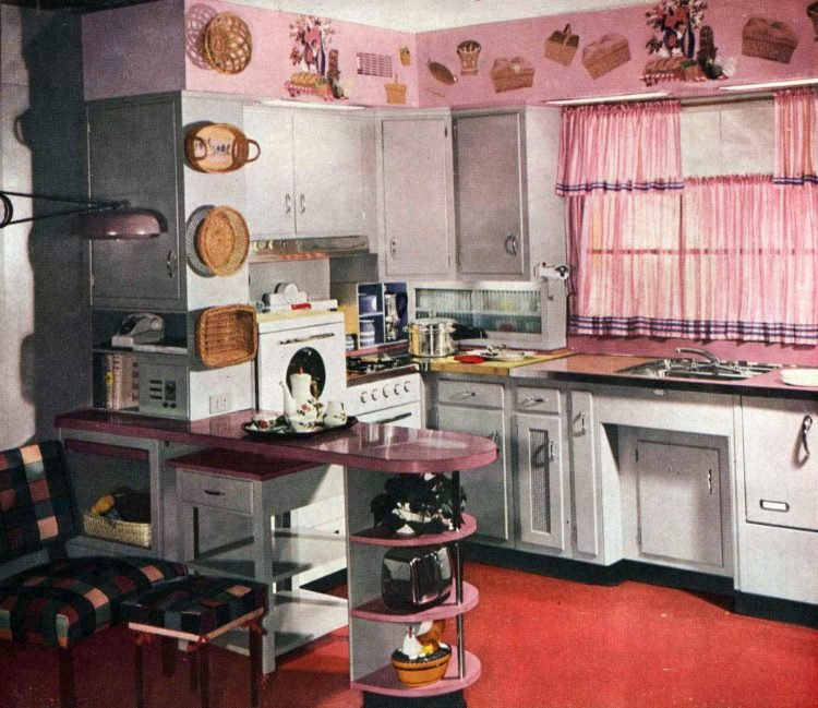 Retro 1950s curved kitchen countertop peninsulas (1)