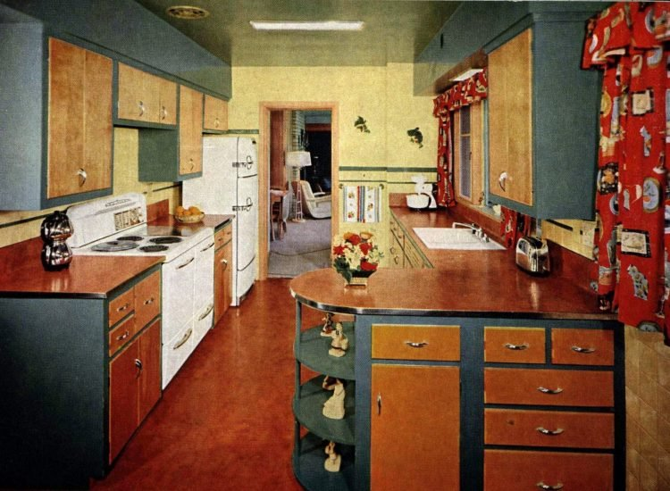 Retro 1950s curved kitchen countertop peninsulas (2)
