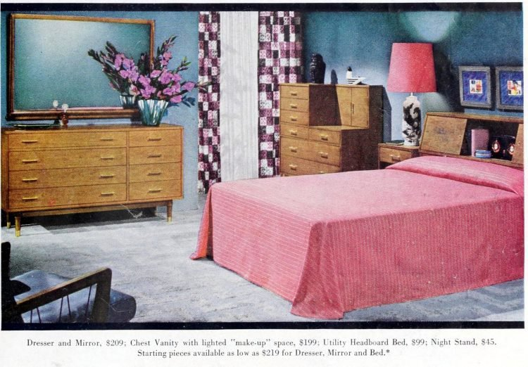 Retro 1950s master bedroom decor - pink purple blue