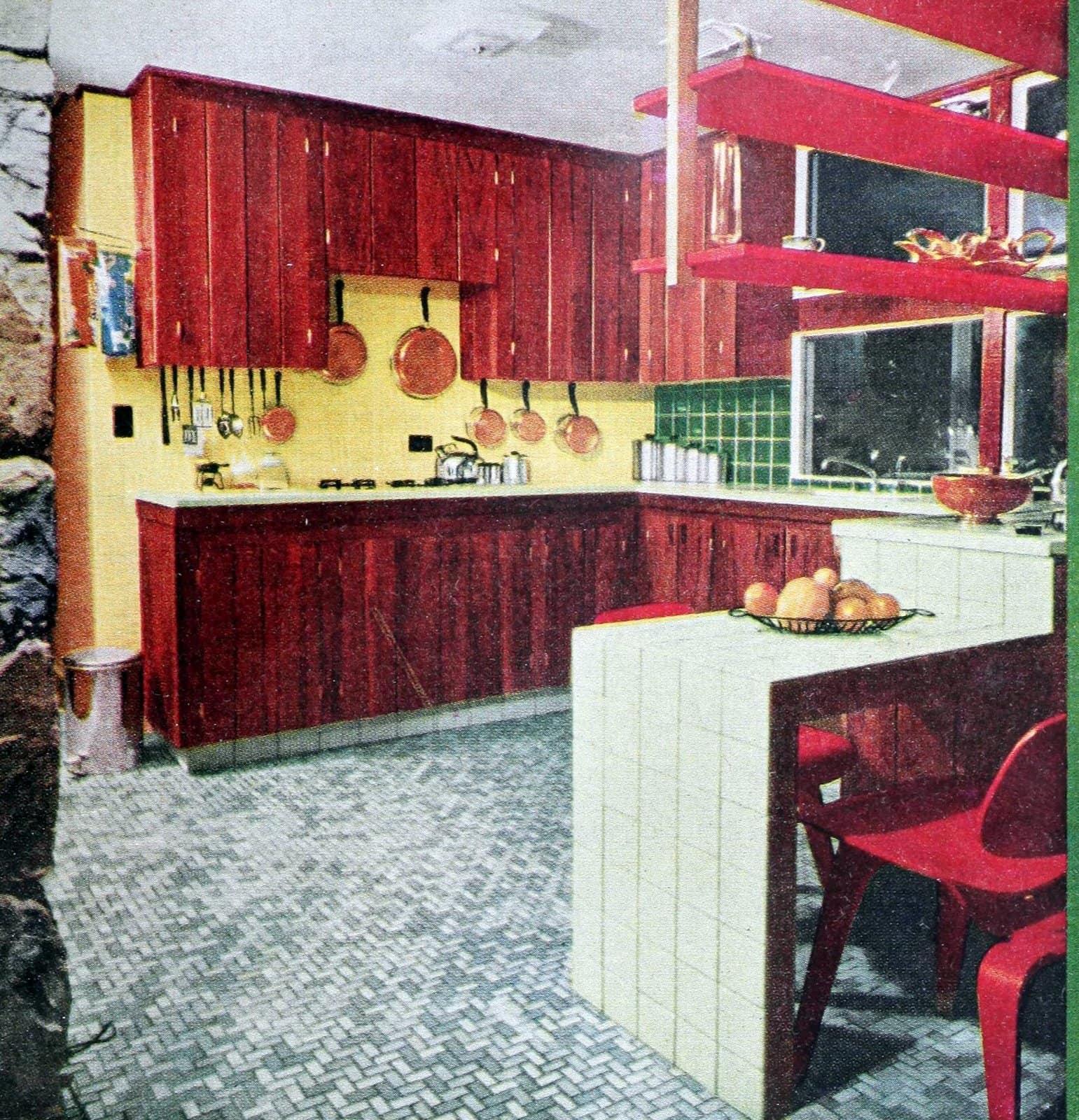 Retro 1955 kitchen design with ceramic tile surfaces