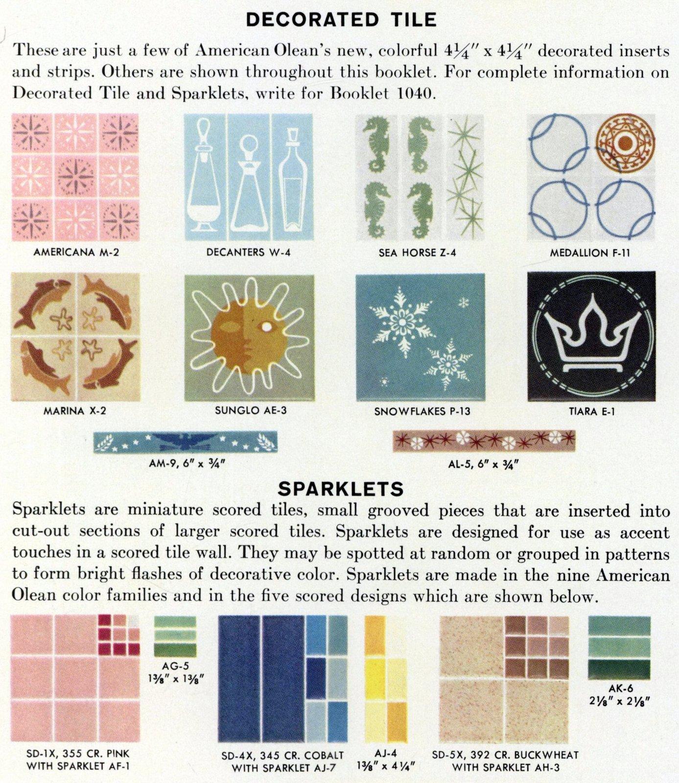 Retro 1960s ceramic tile design options