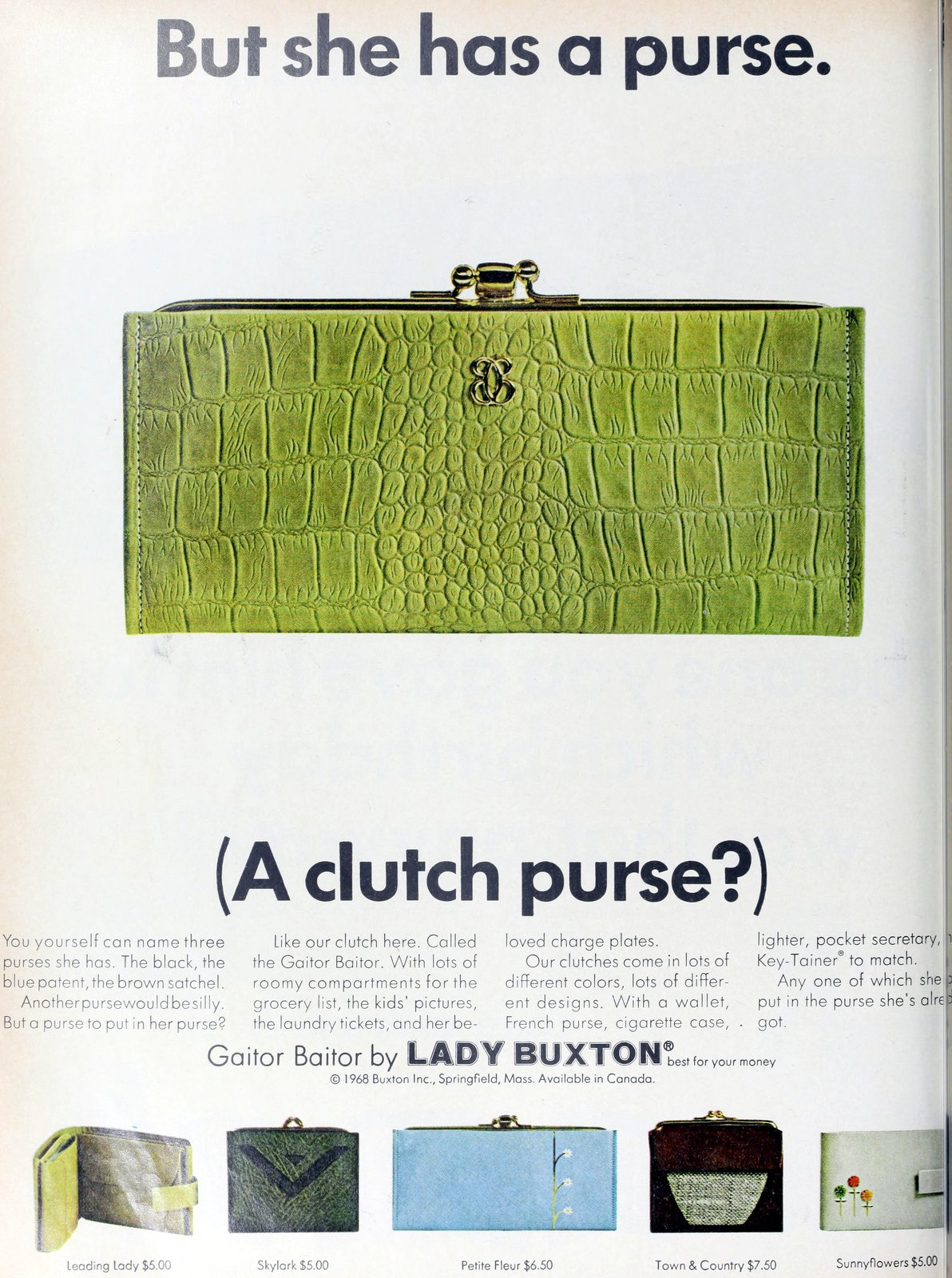 Retro 1960s clutch purse wallet - green Gaitor Baitor by Lady Buxton (1968)
