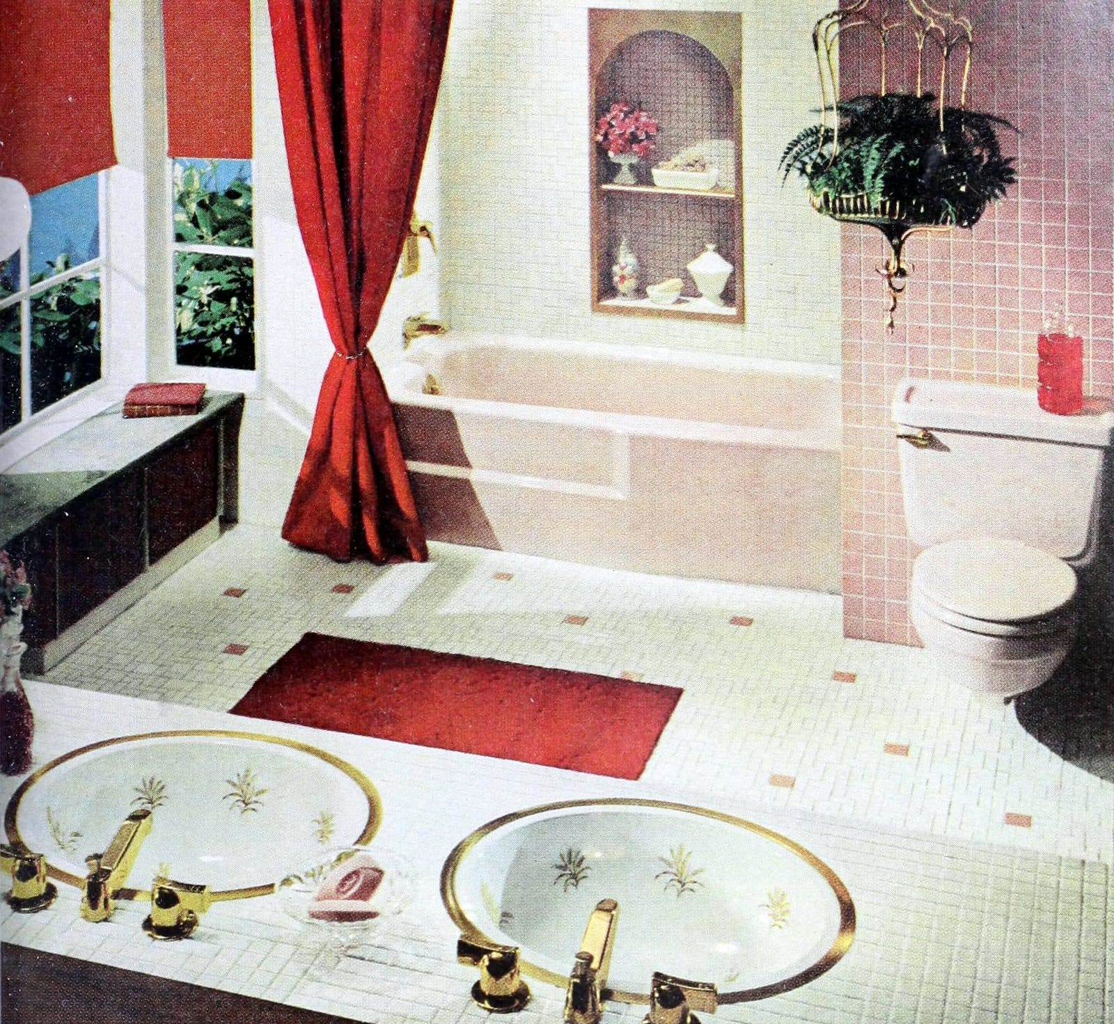 Retro 1960s pink white and red tiled bathroom decor
