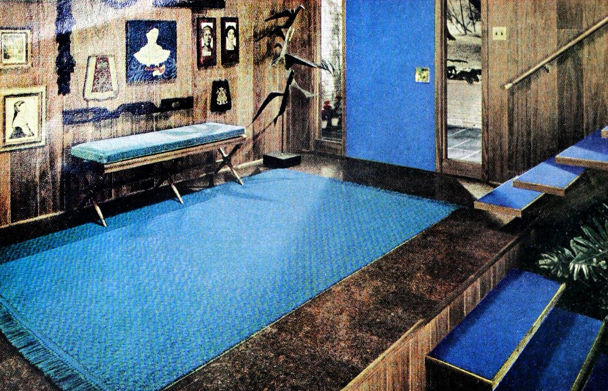 Retro 1960s wood and blue foyer design and decor (1962)