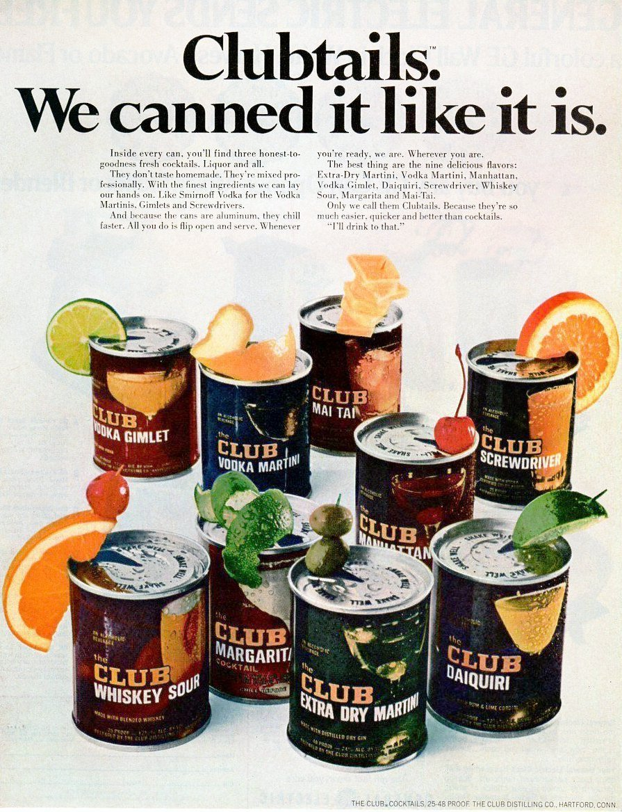 Retro 1970s Club cocktail mixes in cans - Clubtails