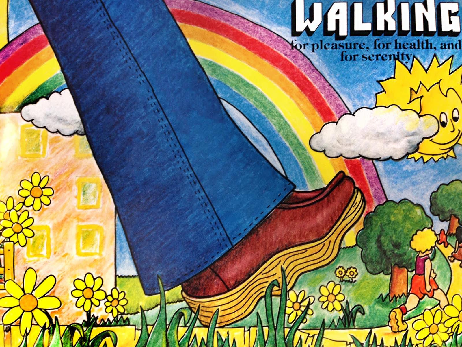 Retro 1970s Famolare shoe fashion - Walking rainbow art