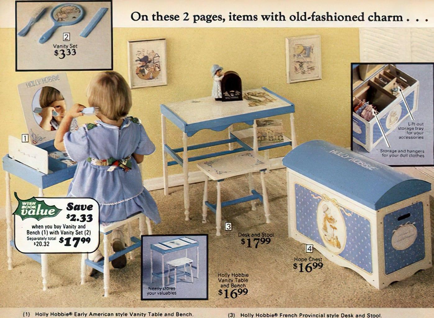 Retro 1970s Hollie Hobbie furniture at Sears 1977