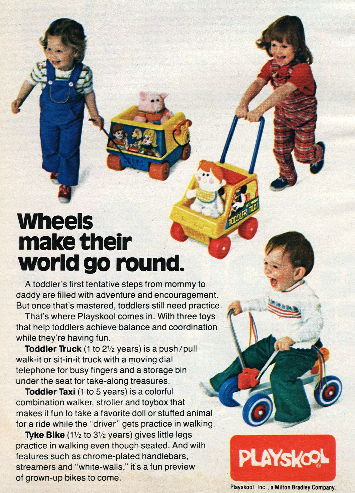 Retro 1970s Playskool Toddler Truck, Toddler Taxi and Tyke Bike toys
