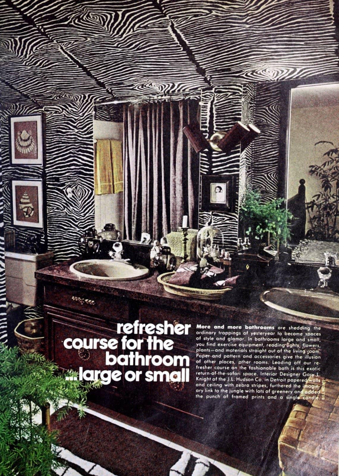 Retro 1970s bathroom with black and white tiger stripe - zebra stripe patterned walls
