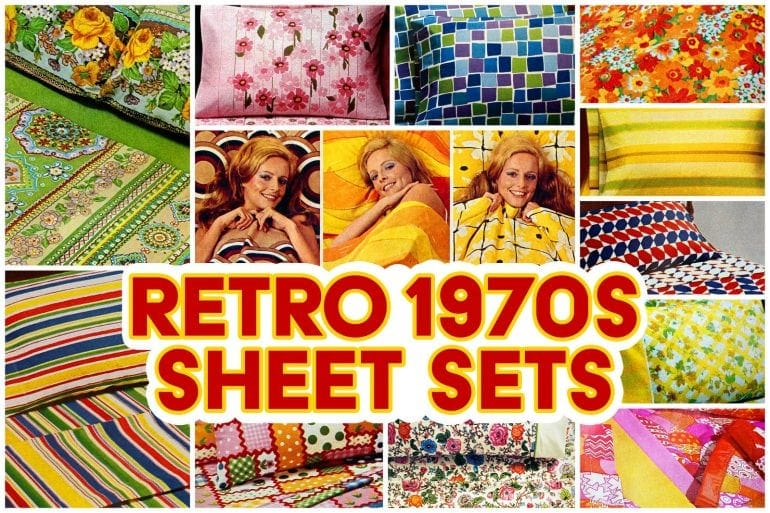 Retro 1970s sheet sets with bright and bold colors
