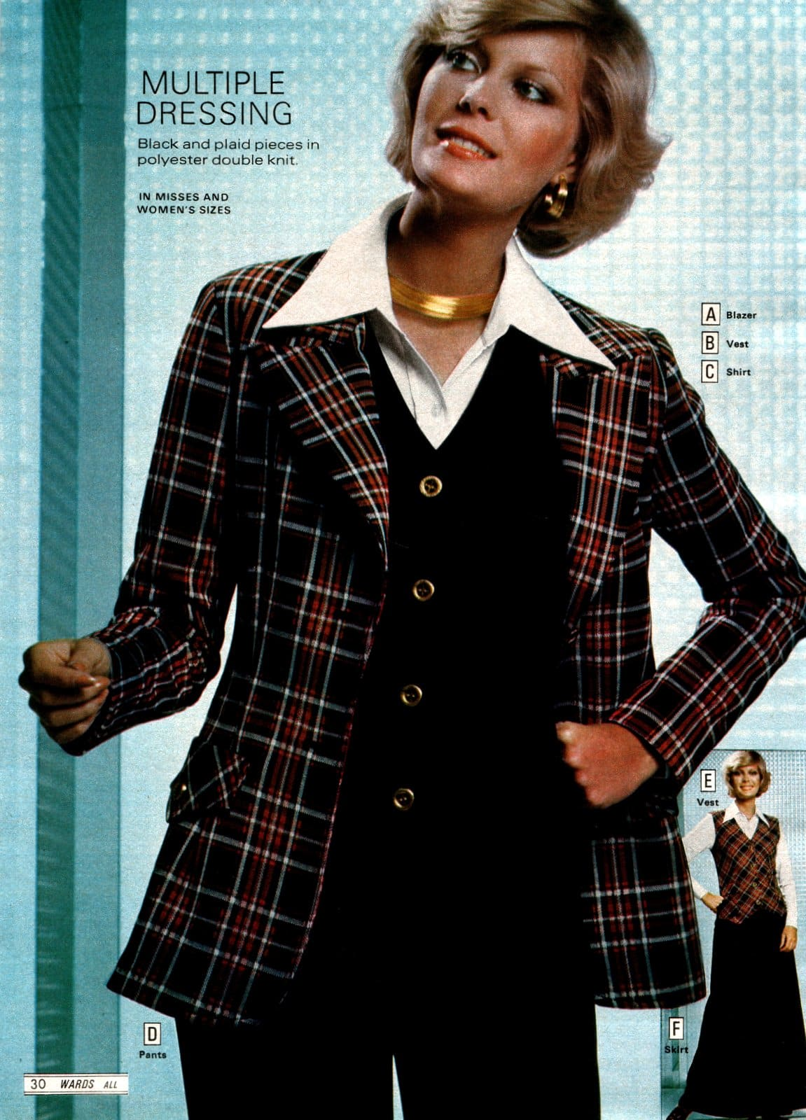 Retro 1970s suits for women - plaid and black with wide color