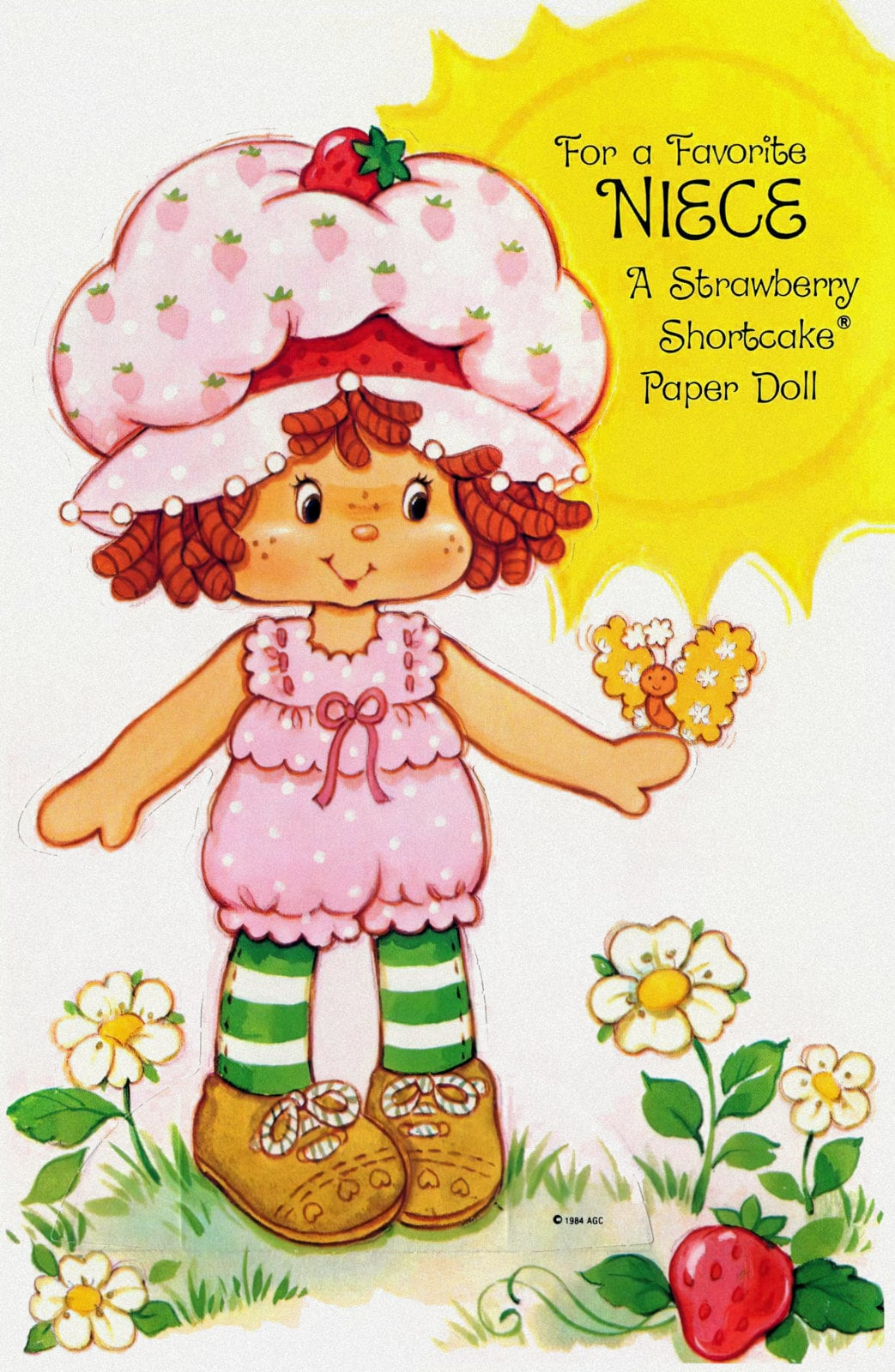 Retro 1980s Strawberry Shortcake card and paper doll for niece
