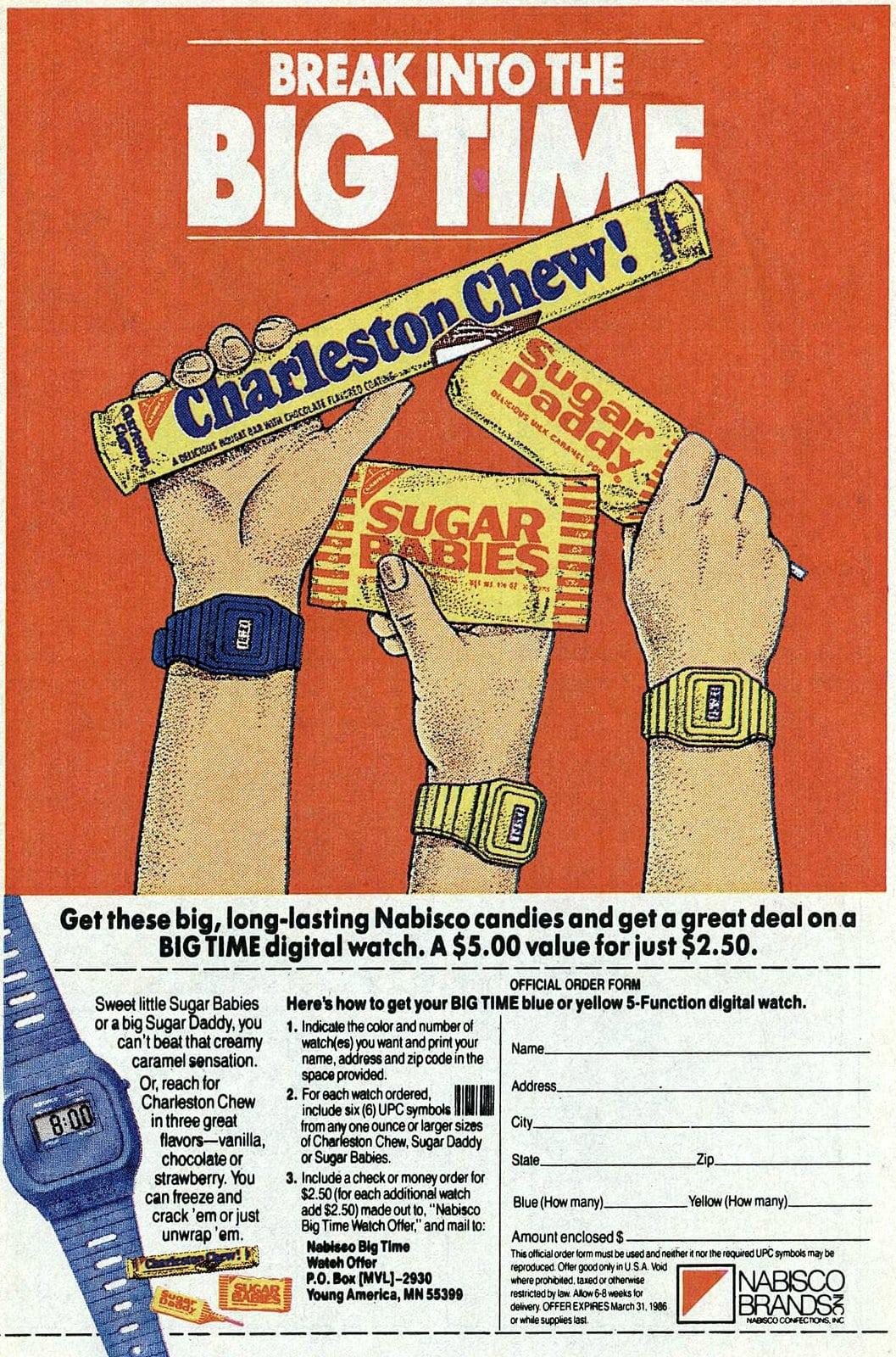 Retro 1980s Sugar Babies Sugar Daddy and Charleston Chew candies (1986)