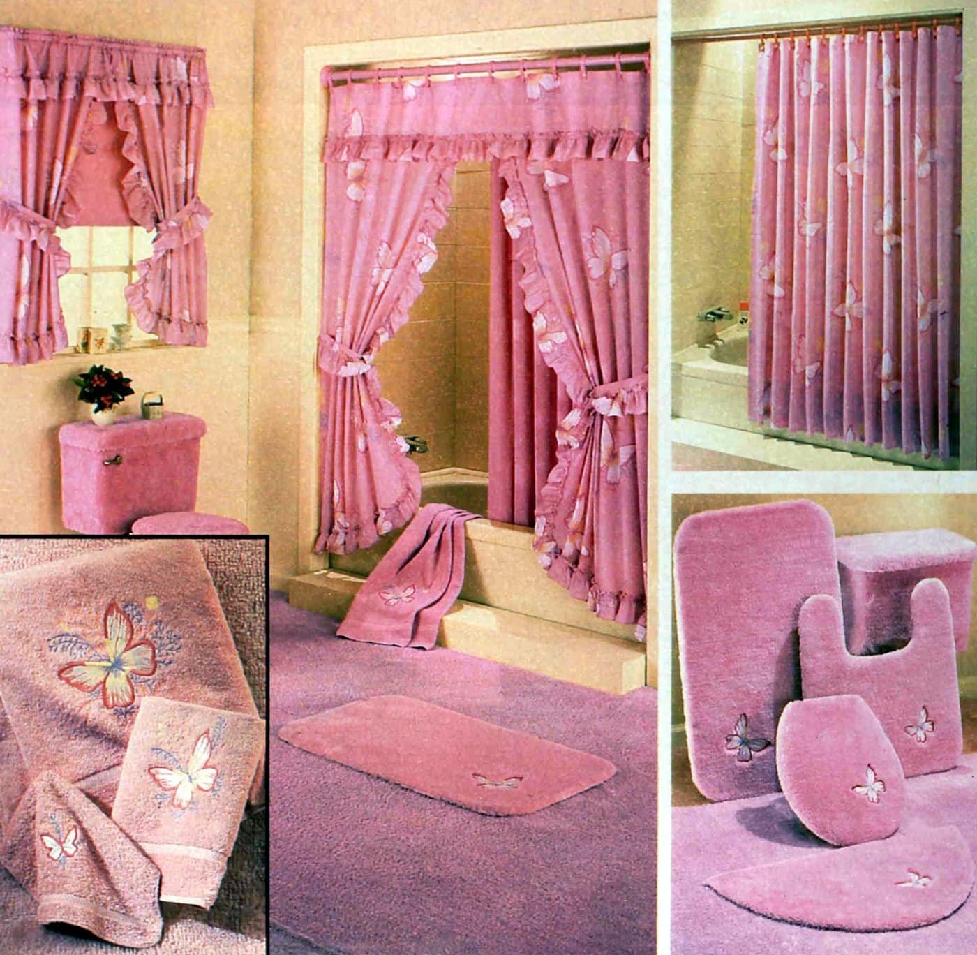 Retro 1980s pink bathroom decor and frilly curtains