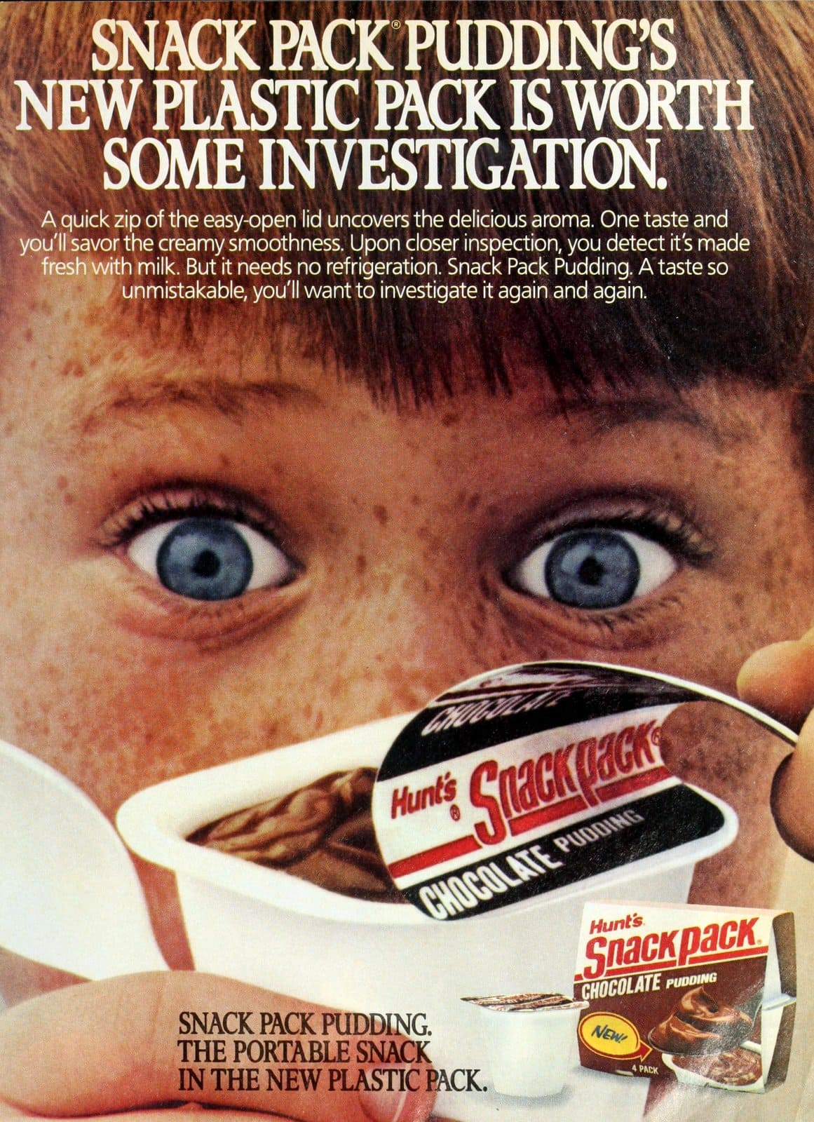 Retro 1987 Hunt's Snack Pack chocolate pudding cup