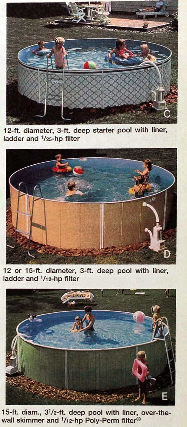 Retro 1990s above ground DIY pools