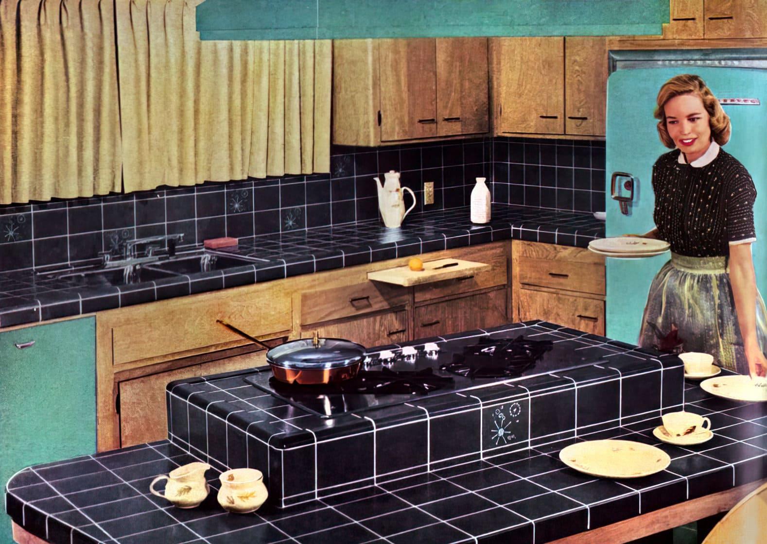 Retro 50s Hermosa tile kitchen decor ideas