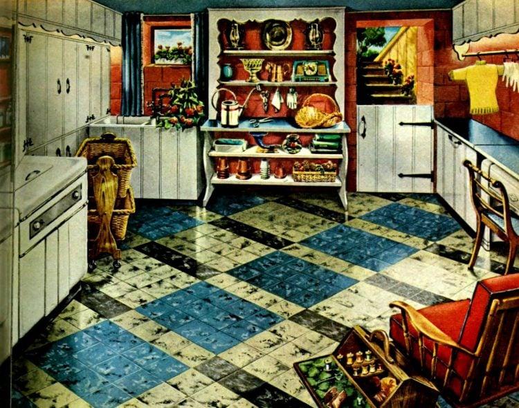 Retro 50s asphalt tile floor for a home basement