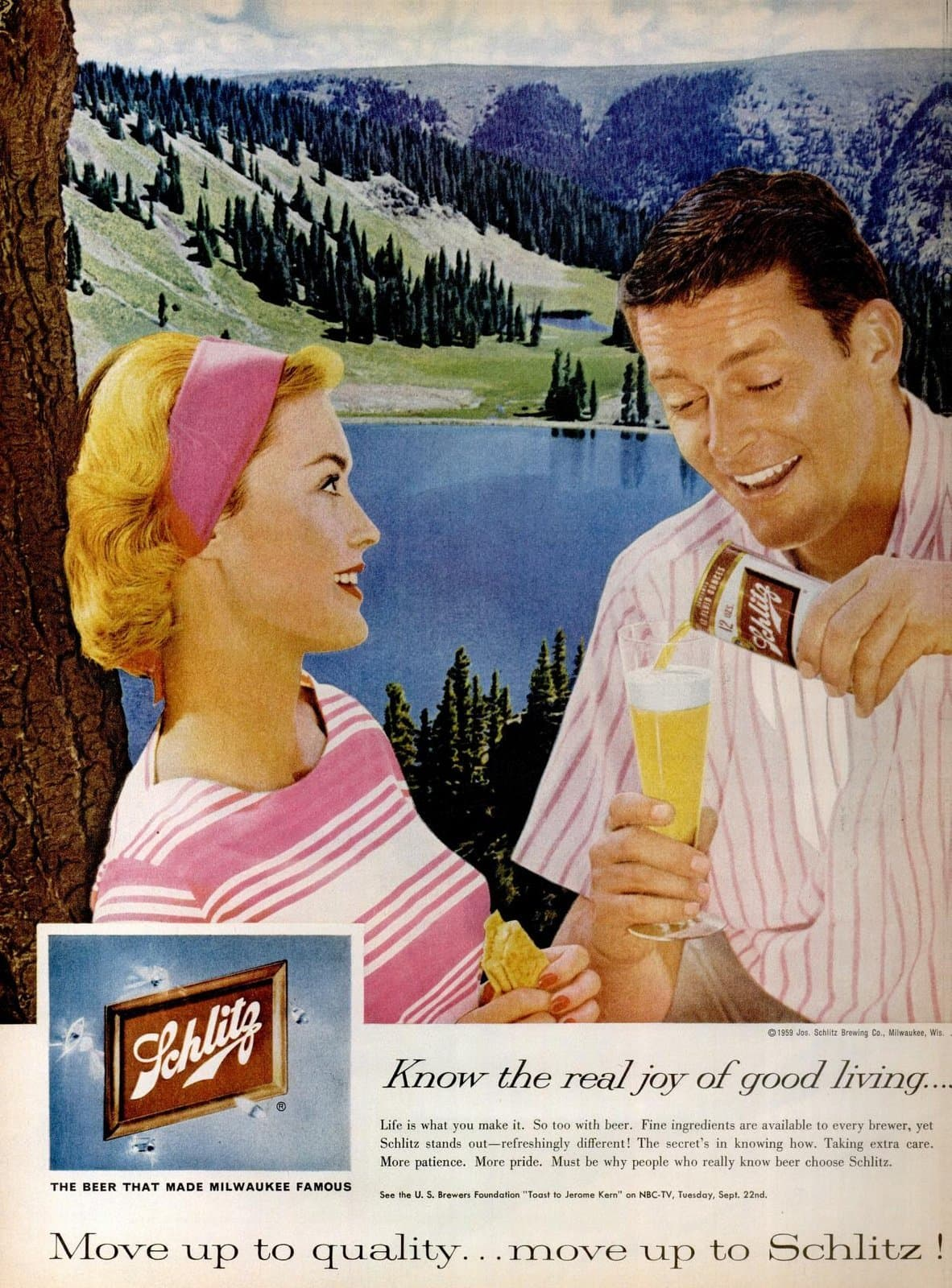 Retro 50s couple pouring beer (1959)