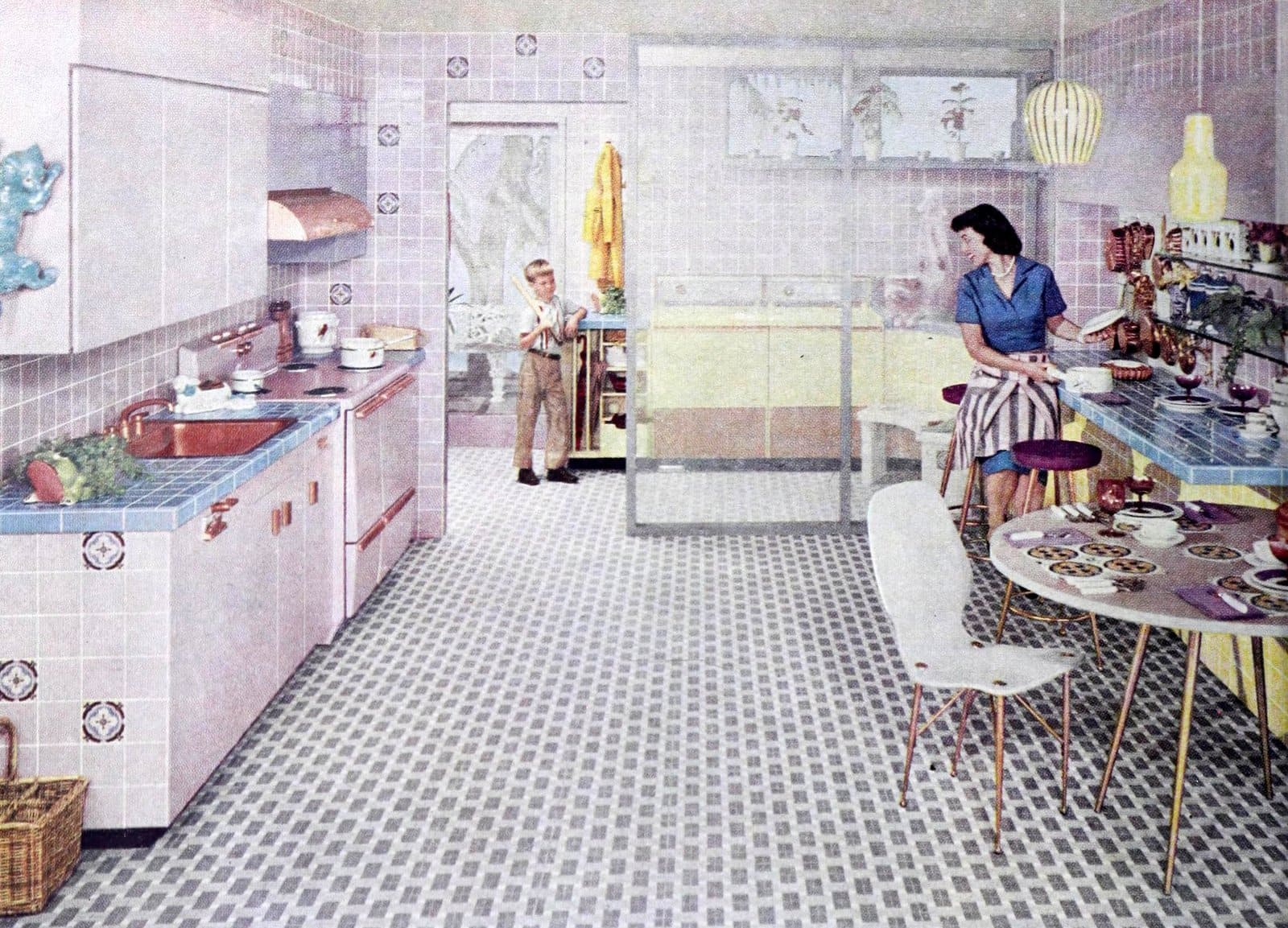 Retro 50s kitchen with lots of ceramic tile decor (1957)