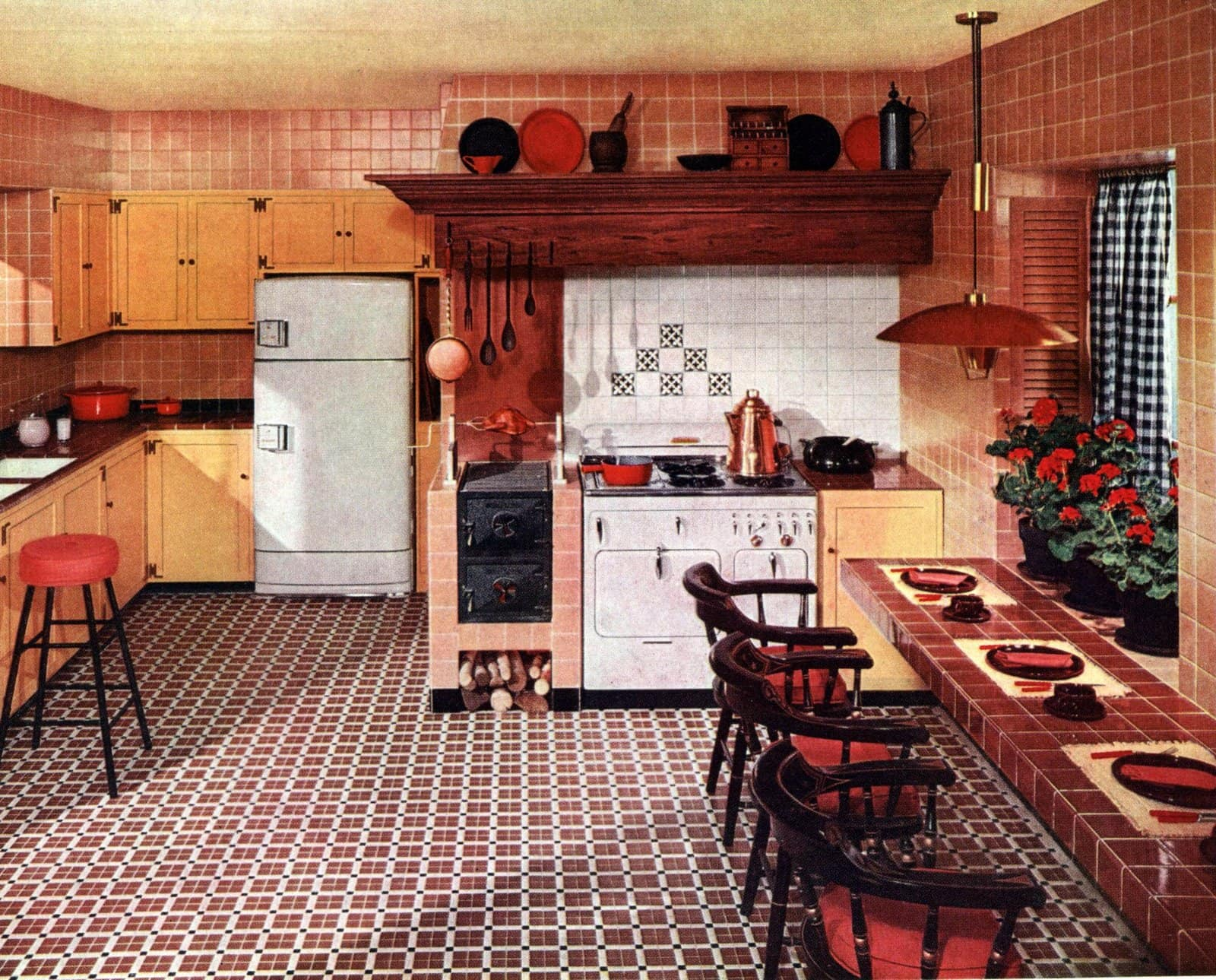 Retro 50s kitchen with tile everywhere