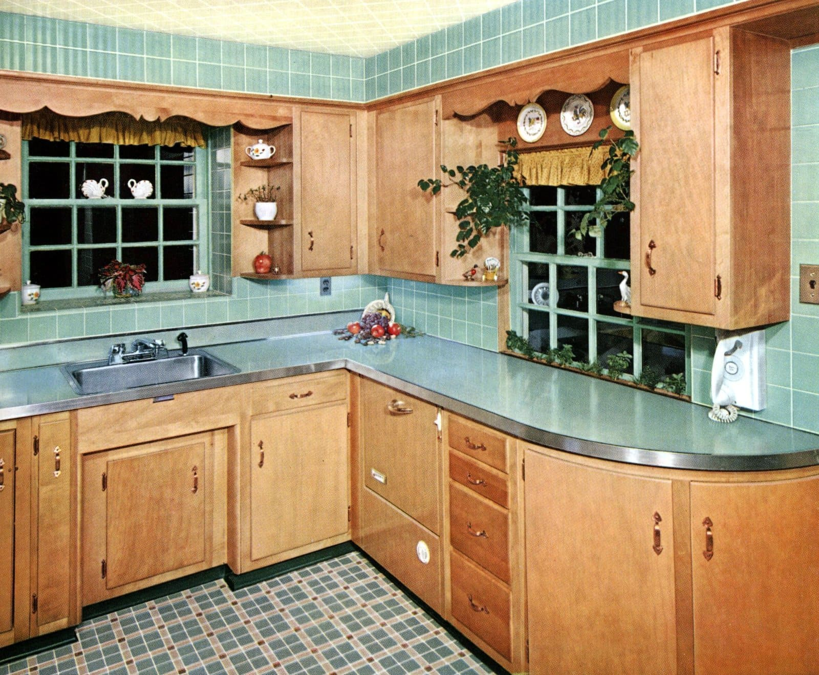 Retro 50s kitchen with wall and floor tile