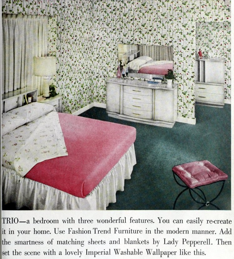 Retro 50s master bedroom with floral print wallpaper decorating
