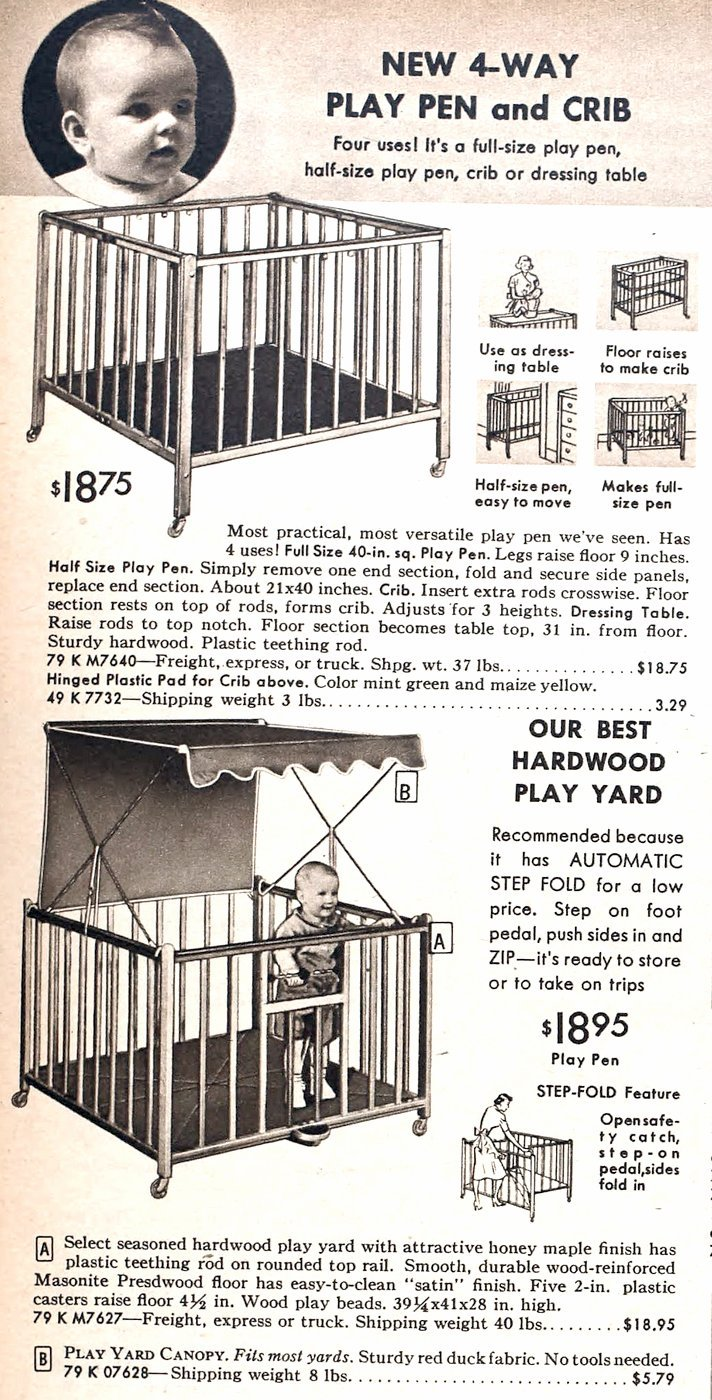 Retro '50s play pens and crib combos - Hardwood