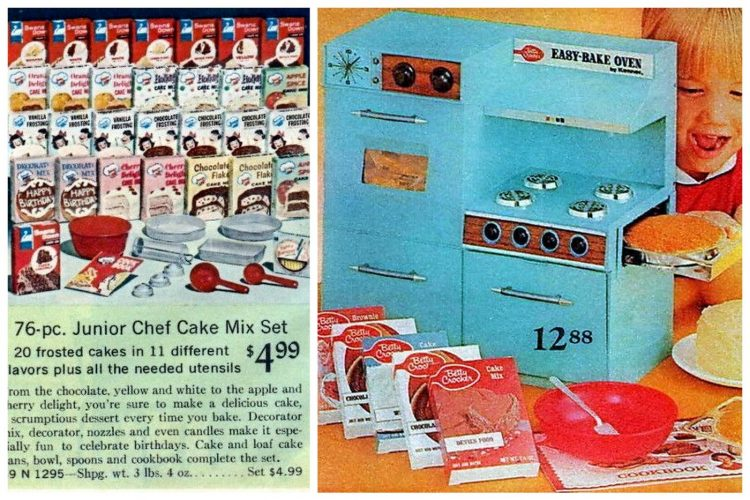 Retro 60s Easy Bake Oven toy and mixes