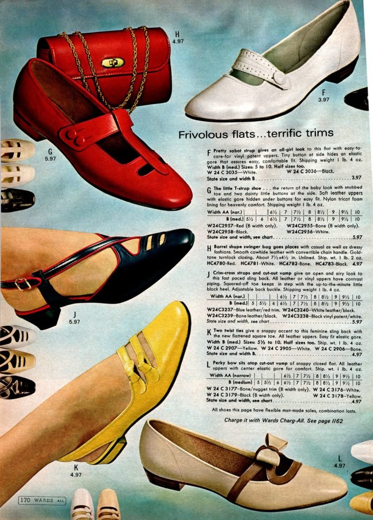 Retro 60s flat shoes for women