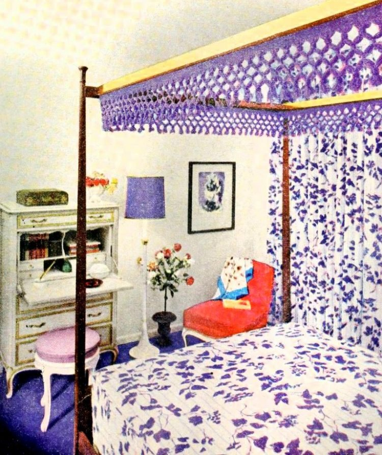 Retro 60s interior decorating - Purple bedroom from 1960