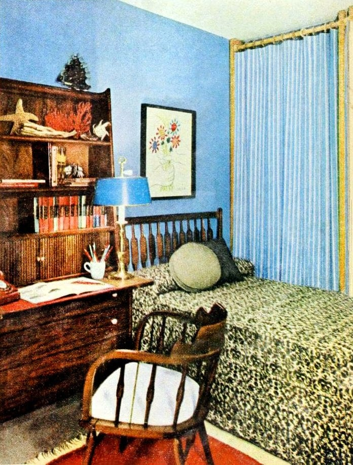 Retro 60s interior decorating - Single bedroom