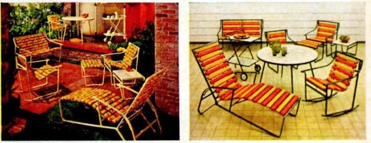 Retro 60s patio sets in yellow and red