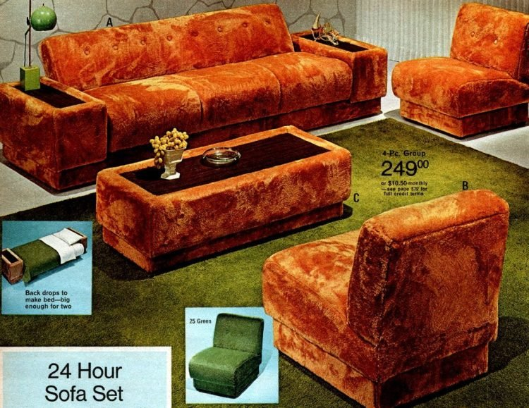 Retro 70s 24-hour sofa set - acrylic plush upholstery living room furniture in gold and green