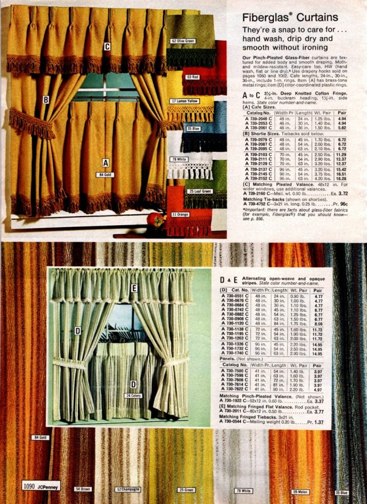 Retro 70s Fiberglas curtains with pinch pleats