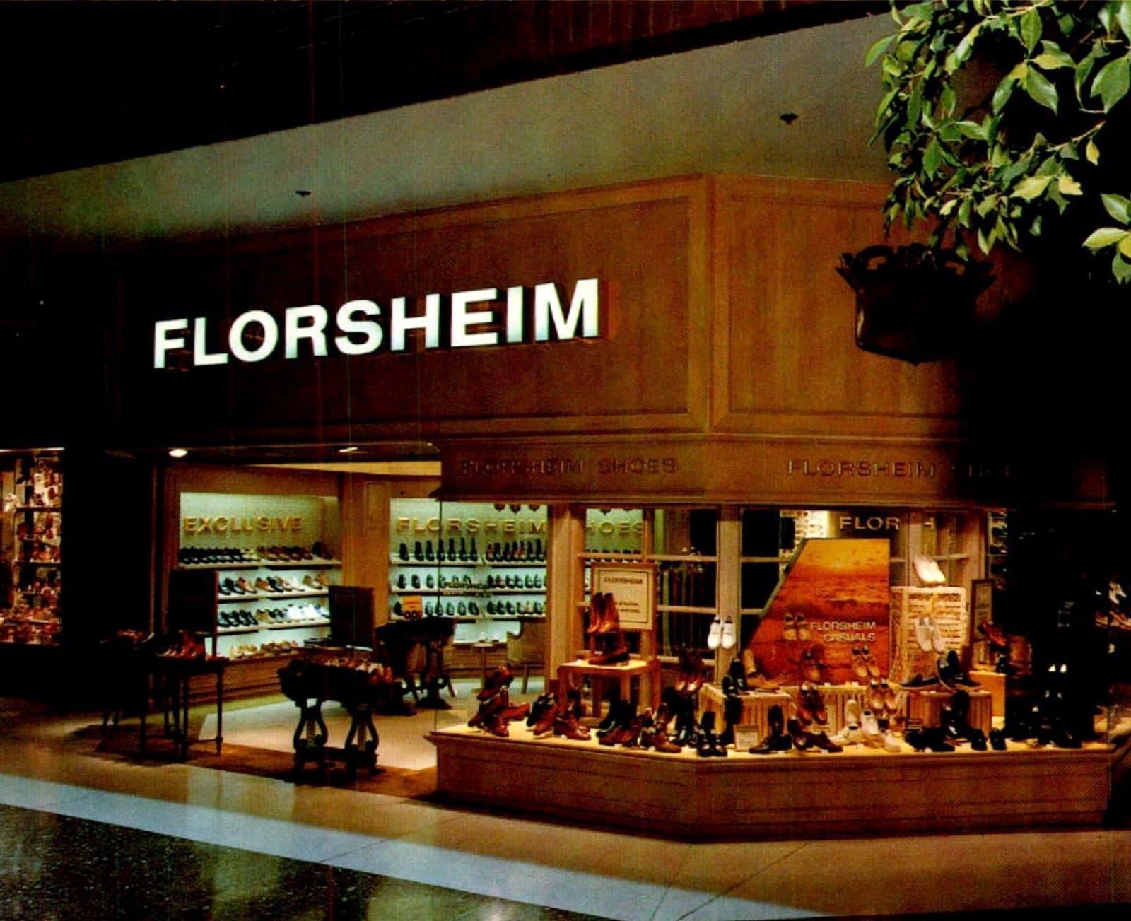 Retro 70s Florsheim shoe store at a mall (1978)