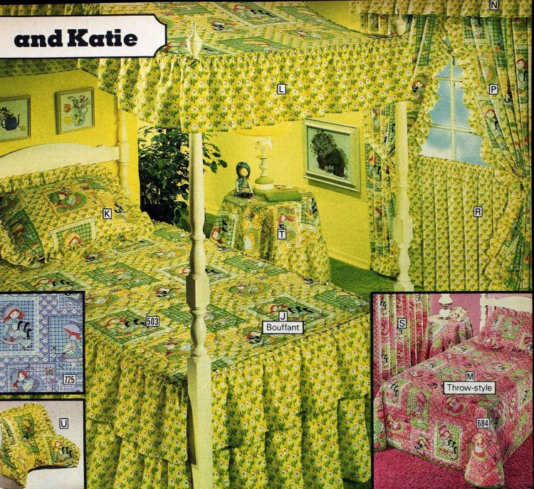 Retro 70s bedding with Katie - Vintage Holly Hobbie-like doll