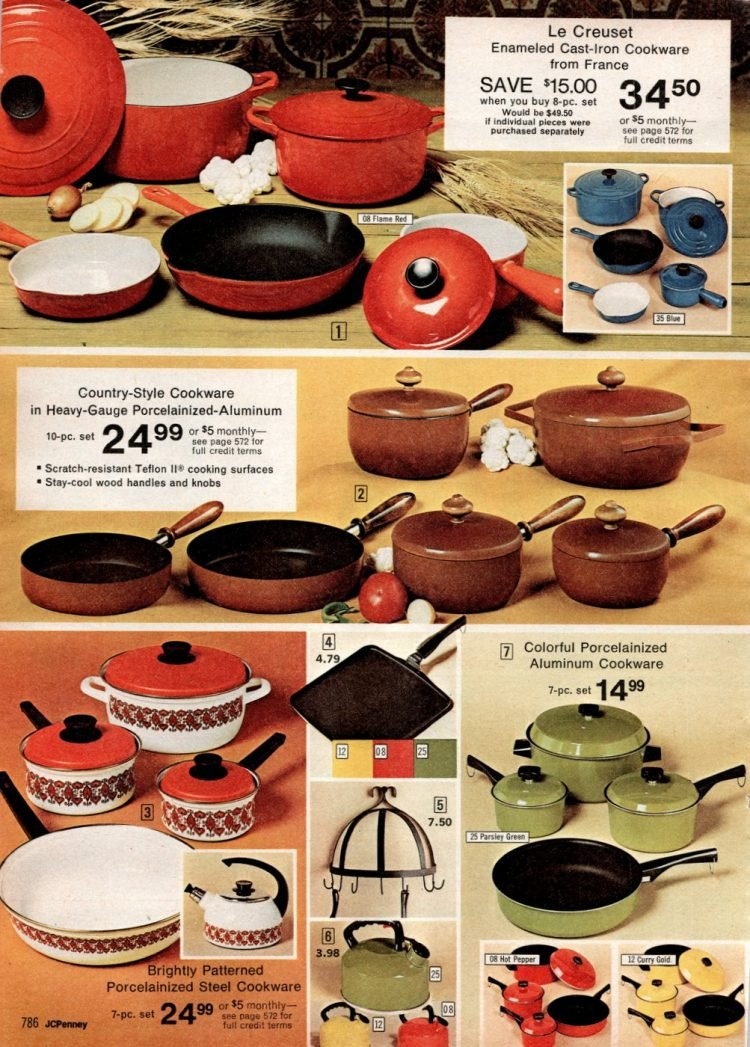 Retro 70s color cookware - kitchen pots and pans (1)