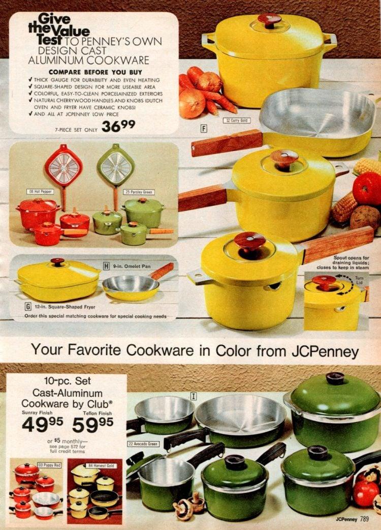 Retro 70s color cookware - kitchen pots and pans (2)