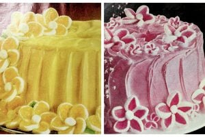 Retro 70s daisy cakes with yellow, pink and white marshmallow flowers