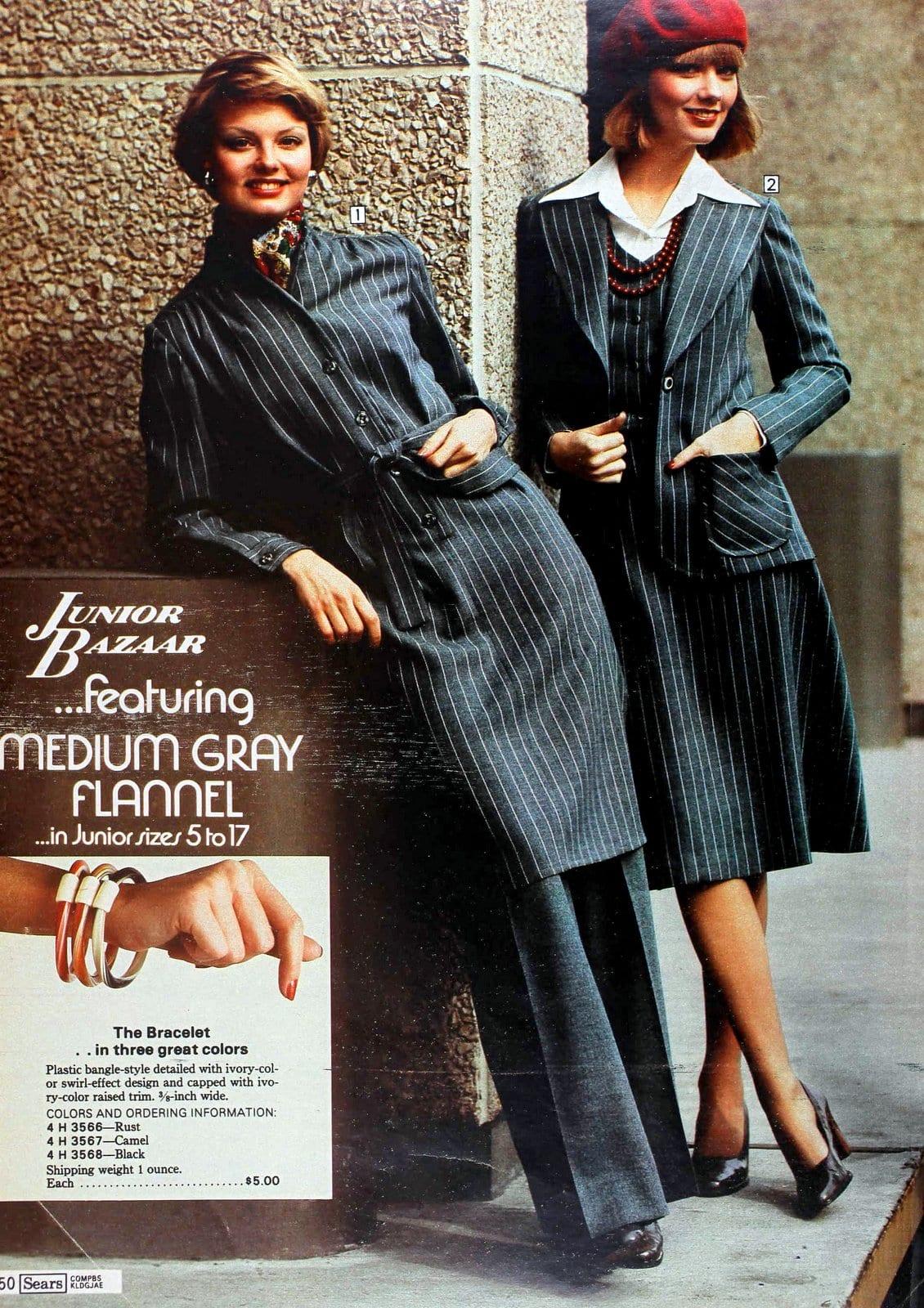 Retro 70s flannel suits for women